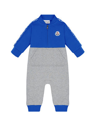 Moncler Two-Tone Baseball-Collar Coverall, Size 3-24 Months