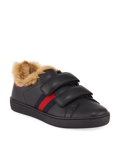 New Ace Web-Trim Leather Sneakers w/ Faux-Fur Lining, Kids