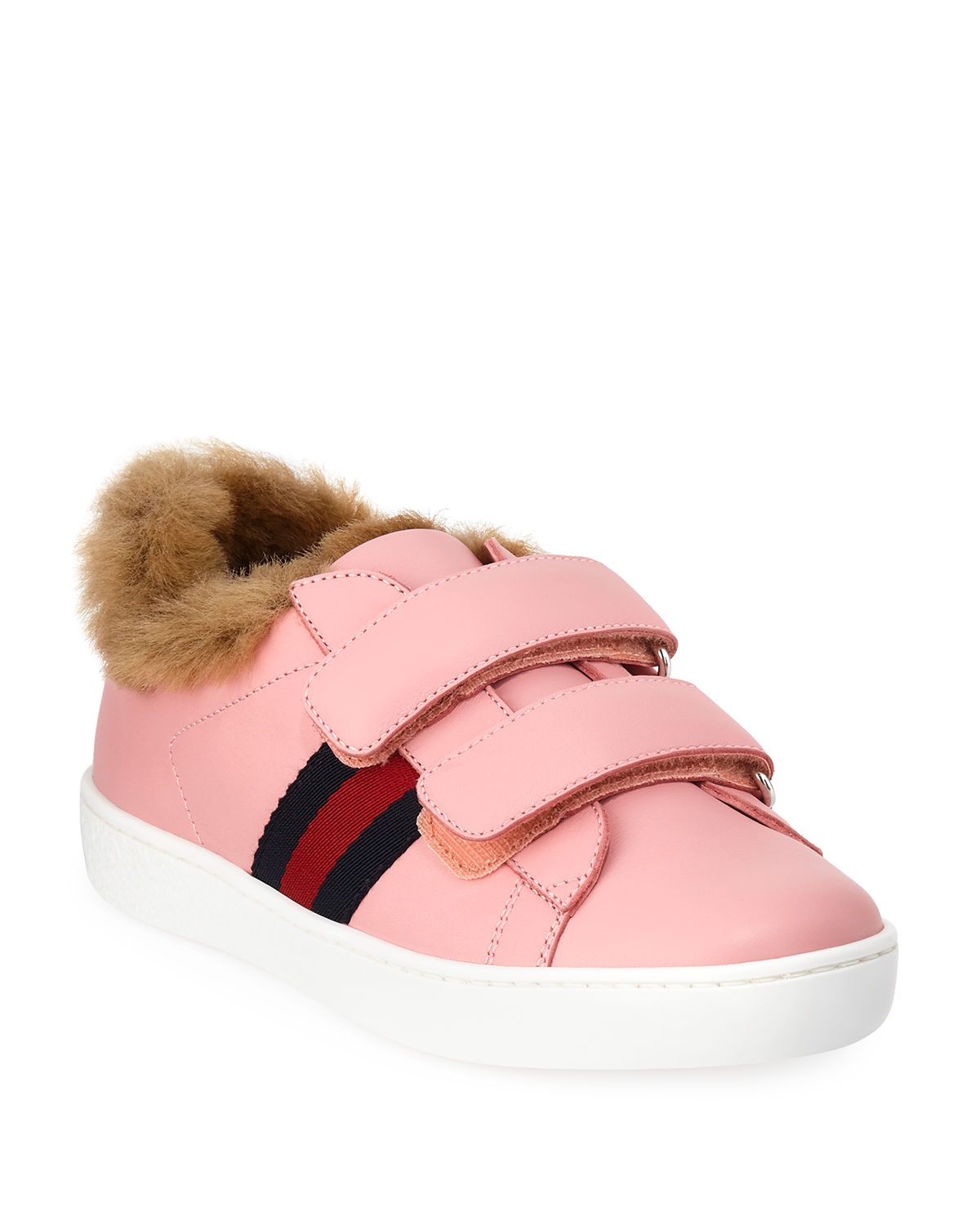 Aceweb new ace web-trim leather sneakers w/ faux-fur lining, kids in pink
