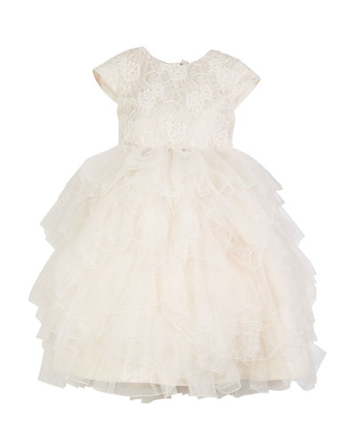 Lace & Tulle Gown w/ Embellished 3D Flowers  Size 4-14