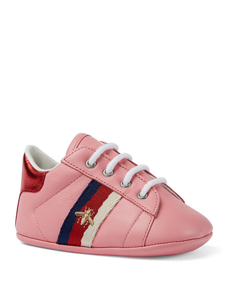 GUCCI NEW ACE BEE EMBROIDERY WEB-TRIM LEATHER SNEAKERS, BABY/TODDLER,PROD216480078