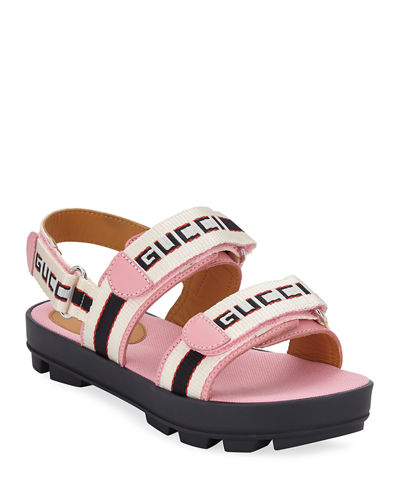 Gucci Sam Web Logo Grip-Strap Sandals, Baby/Toddler/Kids