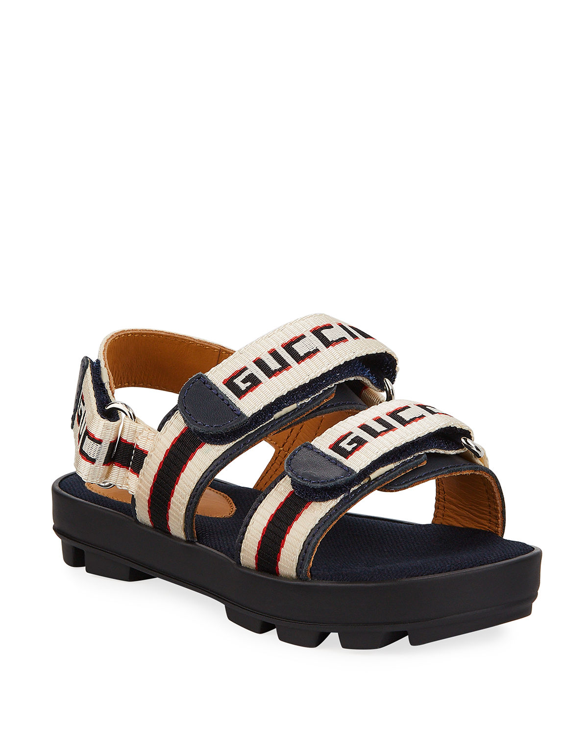 7d4707a16 Gucci Sam Web Logo Grip-Strap Sandals