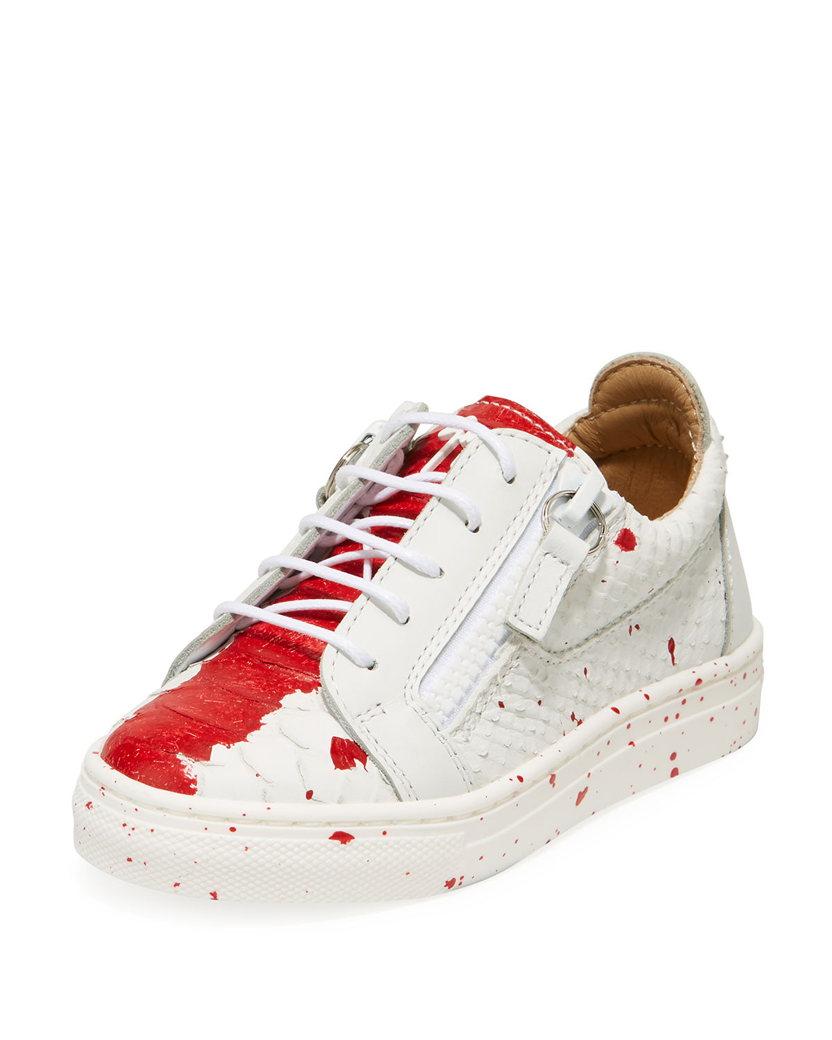 4b5f52d920d Snake-Embossed Leather Paint Splatter Low-Top Sneakers, Toddler