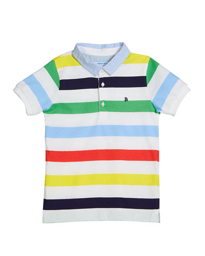 Mayoral Multi-Stripe Polo Shirt, Size 12-36 Months