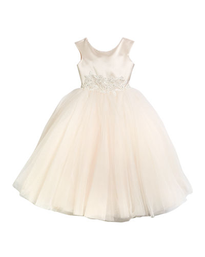 Satin & Tulle Tea Length Dress, Size 4-10