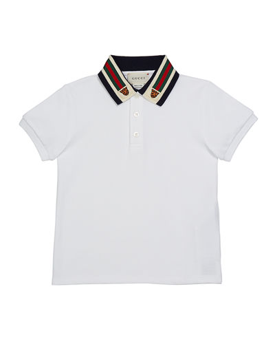 Short-Sleeve Polo Shirt w/ Web Trim Collar, Size 4-12