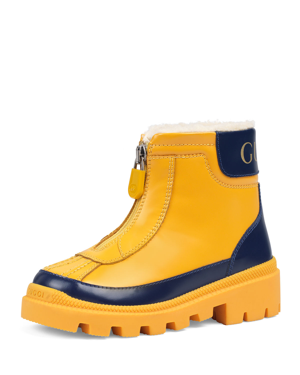 Gucci Leather Zip Front Boots, Toddler/kids In Yellow