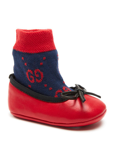 Leather Ballet Flats w/ Attached GG Sock, Baby