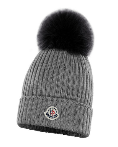 Kid's Virgin Wool Knit Beanie Hat w/ Fur Pompom