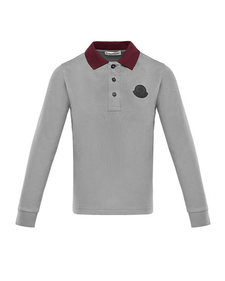 Image 1 of 2: Moncler Long-Sleeve Polo Shirt w/ Side Taping, Size 8-14