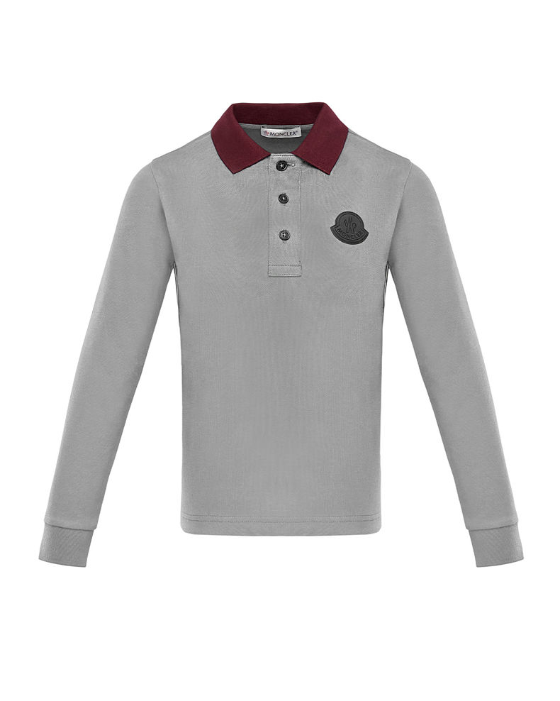 Moncler Long-Sleeve Polo Shirt w/ Side Taping, Size 8-14