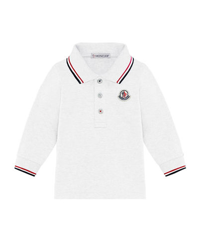 Long-Sleeve Polo Shirt w/ Tricolor Tipping, Size 12M-3