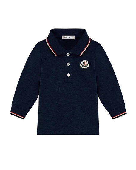 Moncler Long-Sleeve Polo Shirt w/ Tricolor Tipping, Size 12M-3