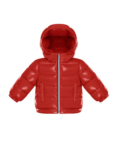 Quilted Shiny Nylon Hooded Puffer Jacket, Size 12M-3