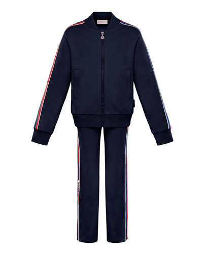 Moncler Glitter Striped-Trim Jacket w/ Matching Pants, Size 4-6