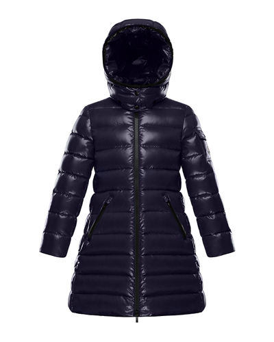 Moka Laque Mini Me Quilted Hooded Long Coat, Size 8-14