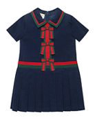 Gucci Short-Sleeve Corduroy Dress w/ Web Bows, Size