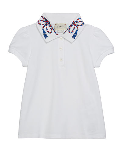 Puffy Sleeve Polo Shirt w/ Collar Detail, Size 4-12
