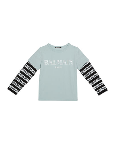 Kid's Long-Sleeve Institutional Logo Tee, Size 10-16
