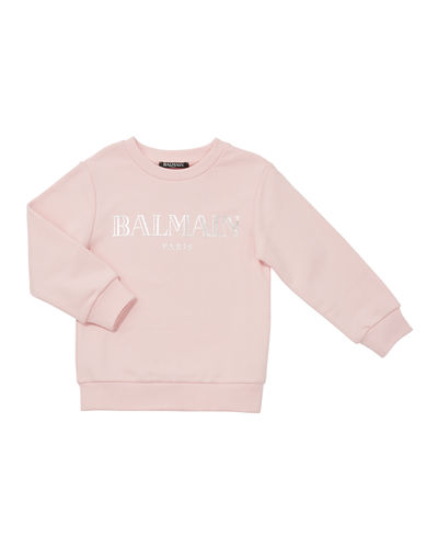 Balmain French Terry Metallic Logo Sweatshirt, Size 4-8