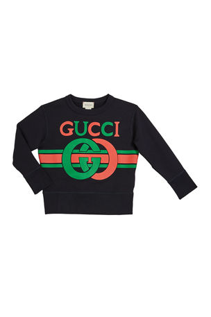 Gucci Kid's Logo Print Felted Cotton Jersey Sweatshirt, Size 4-10