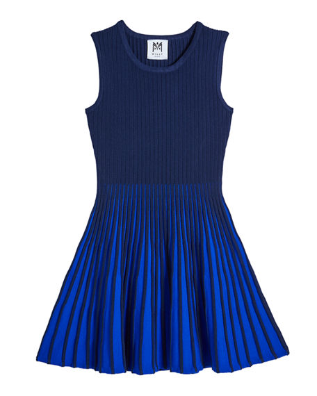 Image 1 of 2: Milly Minis Girl's Two-Tone Flared Godet Dress, Size 7-16