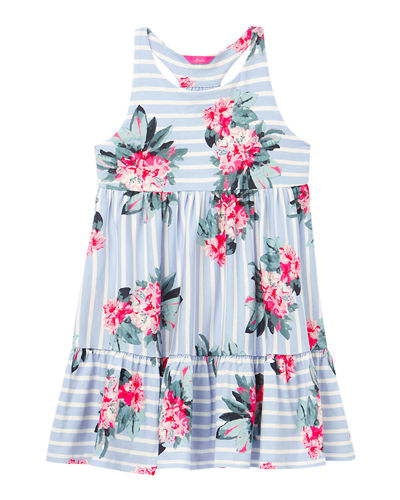 Joules Girl's Juno Stripe Floral Racerback Dress, Size 4-10