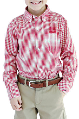 Brown Bowen and Company Gingham Shirt - Monogram Option, Size 4/5-18