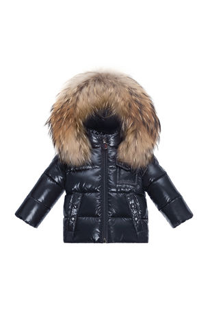 Moncler Fur-Trimmed Hooded Quilted Puffer Jacket, Size 12M-3