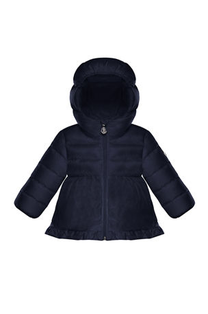 Moncler Odile Quilted Ruffle-Trim Hooded Puffer Jacket, Size 12M-3