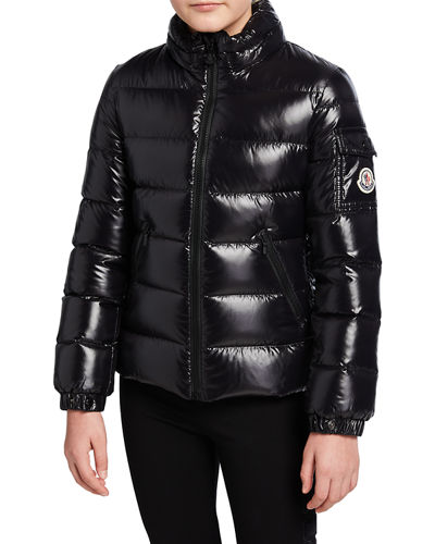 Baby Laque Quilted Hooded Puffer Jacket, Size 4-6