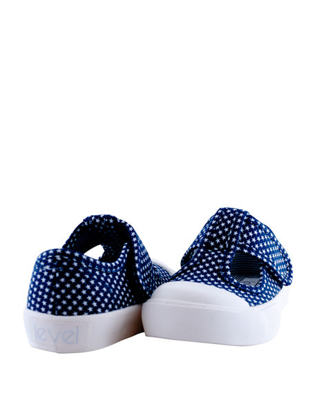 Image 3 of 3: Level Girl's Star Dot T-Strap Canvas Sneakers, Baby/Toddler/Kids