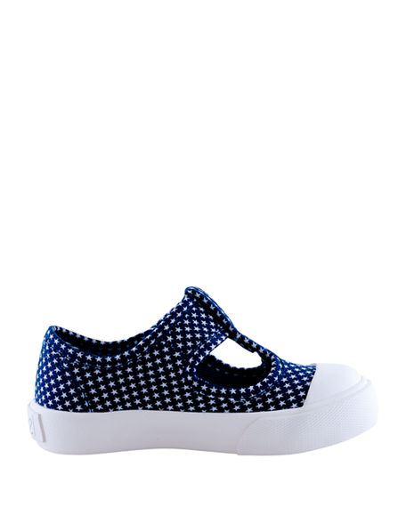 Image 1 of 3: Level Girl's Star Dot T-Strap Canvas Sneakers, Baby/Toddler/Kids