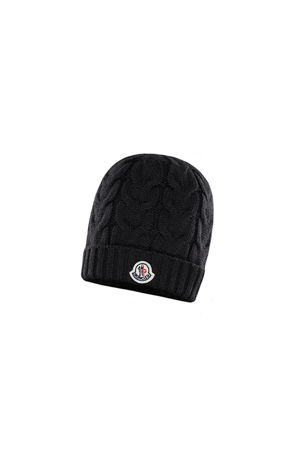 Moncler Kid's Virgin Wool Cable Knit Beanie Hat