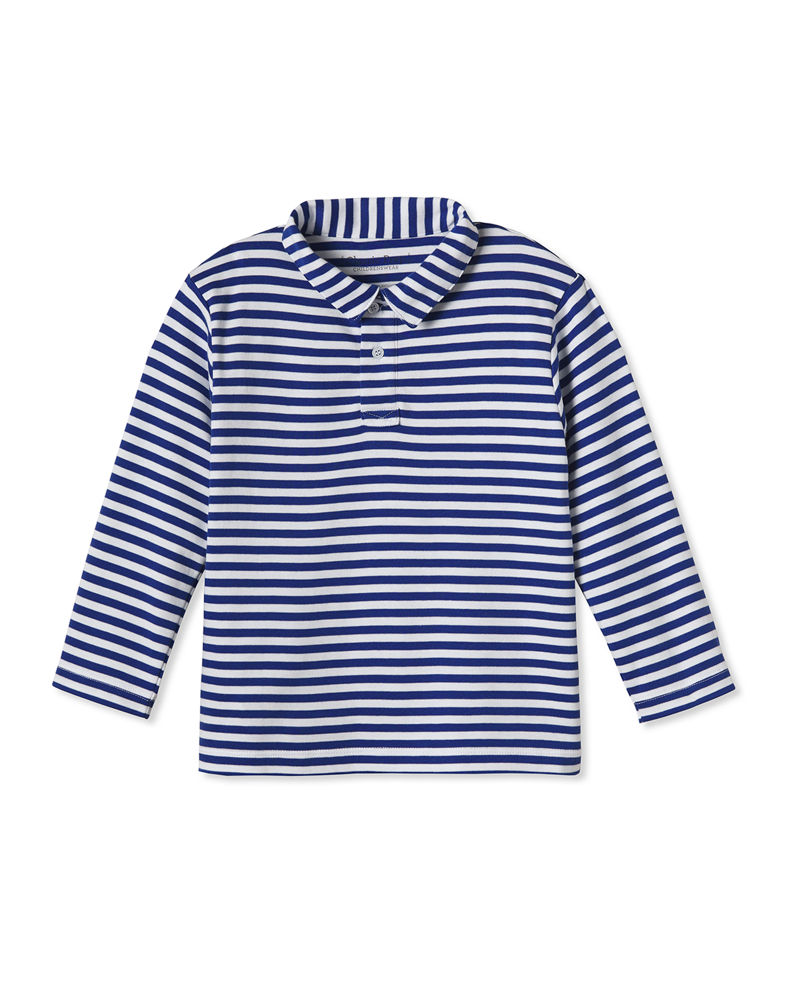 Classic Prep Childrenswear Boy's Henry Striped Long-Sleeve Polo Shirt, Size 12M-14
