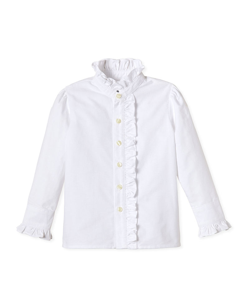 Classic Prep Childrenswear Girl's Ginny Ruffle Button Front Oxford Shirt, Size 2-14