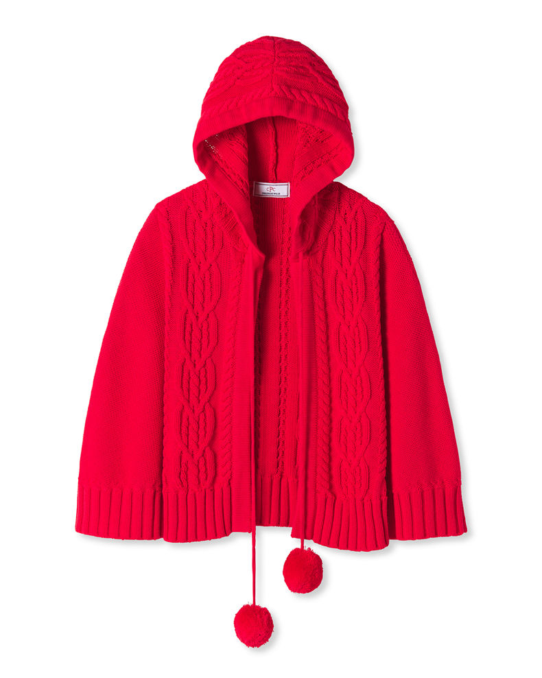 Classic Prep Childrenswear Girl's Hooded Cable-Knit Pom Pom Poncho, Size XS-XL