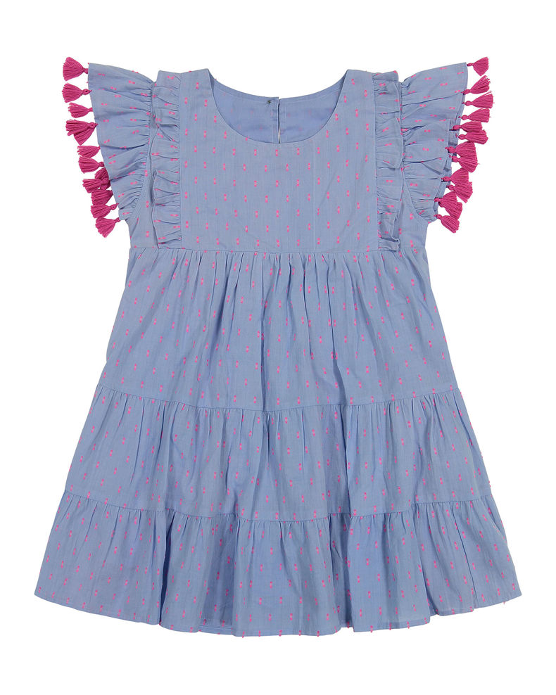 Mer St Barth Girl's Sophie Embroidered Tassel Dress, Size 2-10