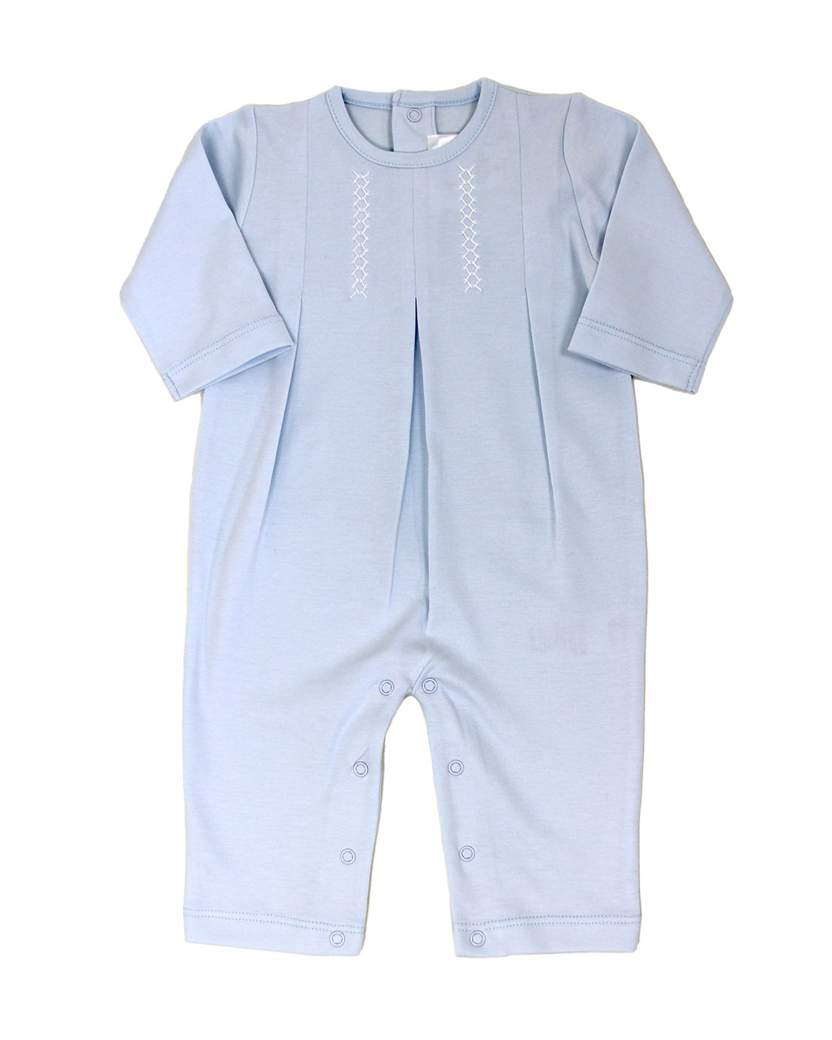 Girl's Layette Embroidered Pleated Coverall