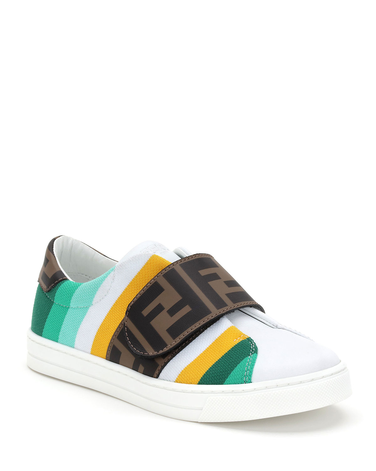 Fendi Leathers KID'S STRIPED FF GRIP-STRAP SNEAKERS, TODDLER/KIDS