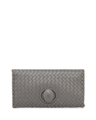 Bottega Veneta Full-Flap Turn-Lock Clutch Bag