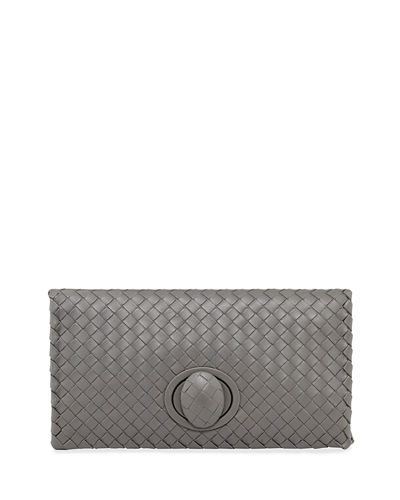 Full-Flap Turn-Lock Clutch Bag