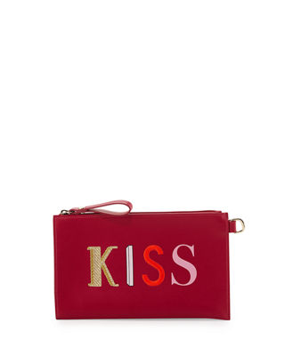 Longchamp Kiss & Love Flat Clutch Bag