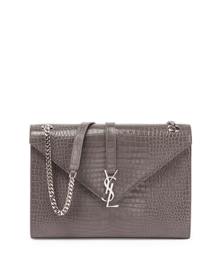 Kate Monogram YSL Crocodile-Embossed Envelope Chain Shoulder Bag