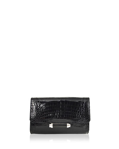 Sloane Mini Metallic Crocodile Evening Clutch Bag