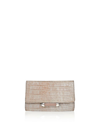 Image 1 of 3: Sloane Mini Metallic Crocodile Evening Clutch Bag