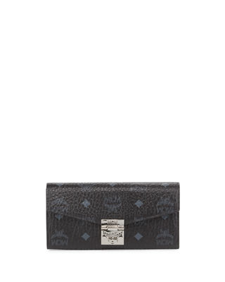 Patricia Logo Printed Convertible Chain Clutch, Black