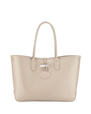 Longchamp Roseau Reversible Leather Shoulder Tote Bag