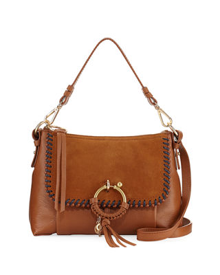Image 1 of 2: Ring Medium Suede & Leather Shoulder Bag